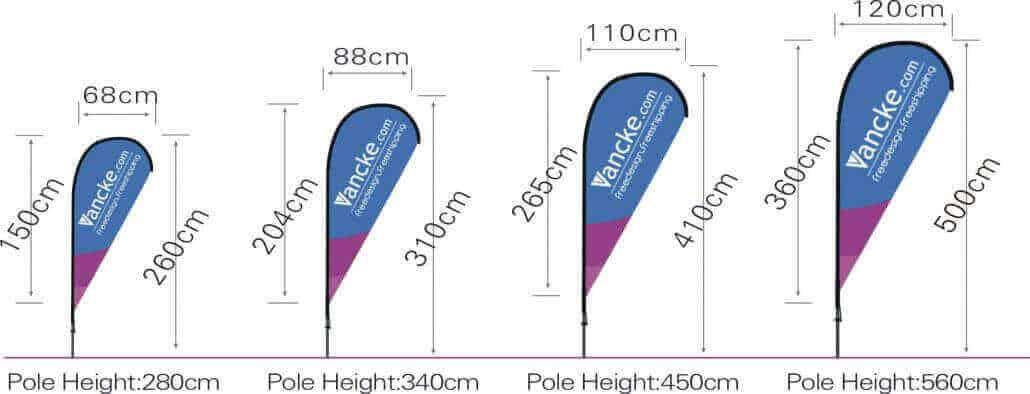 teardrop flag size item